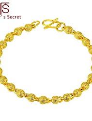Flower's Secret Placer Heart Charm Cute Beans Bracelet 7'' length with Hook Clasp