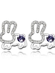 Jade Rabbit Stud Earring Plated with 18K True Platinum Tanzanite Crystallized Austrian Crystal Stones