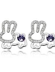 Jade Rabbit Stud Earring Plated with 18K True Platinum Tanzanite Crystallized Austrian Crystal Stones