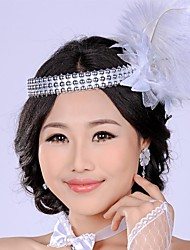 Luxurious Retro White Simulation Feather Mesh Flower  Pearl  Bridal Headpiece