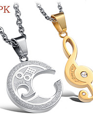 OPK®(2PC) Fashion Music Notation Puzzles Set Auger Lovers Necklace High Quality Love Gift