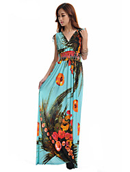 WAVE Women's V Neck Print Ice Silk Oversize Maxi Dress(More Colors)