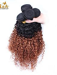"""3pcs / lot 10 """"-26"""" peruanska virgin hårfärg 1b30 kinky lockigt människohår väver"""