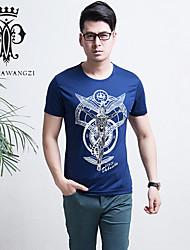 YINHUAWANGZI®Men's Printing Drilling Tees Exempt Iron/Casual/Slim/Round-neck Short Sleeves Tees