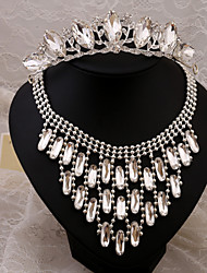 2015 upscale bridal dress accessories necklace earrings three-piece crown crystal tiaraBY-SET0009
