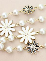 Lucky Star Women's Elegant Pearl Flower Long Necklace