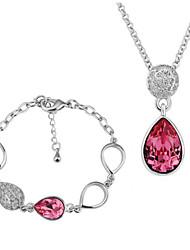 Arinna Fashion Jewelry Set Women 18k white Gold Plated Red Oval Rhinestone Necklace & Bracelet Gift Set G1366#2