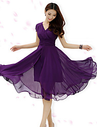 Women's Casual Micro Elastic Short Sleeve Midi Dress (Chiffon)