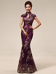 Dress Trumpet/Mermaid High Neck Floor-length Satin Dress