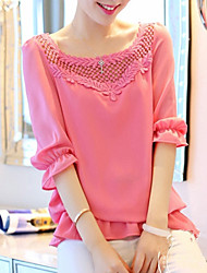 Women's Bateau Tops & Blouses , Chiffon/Lace Casual/Lace ½ Length Sleeve KaMan