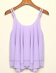 Women's Solid Pink/White/Black/Purple Vest , Strap Sleeveless Layered