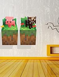 Adesivos de parede adesivos de parede 3D, estilo porco e gado de parede de pvc etiquetas