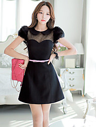 Women's Sexy/Lace/Party/Work Turtle Neck Short Sleeve Dresses (Acrylic/Elastic/Polyester)
