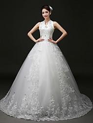 Princess Court Train Wedding Dress -Halter Tulle