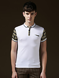 Men's Casual/Sport/Plus Sizes Print/Pure Short Sleeve Regular Polo T shirt (Cotton)