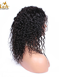 "8""-26"" Indian Virgin Hair Curly Glueless Lace Front Wig Color Natural Black Baby Hair for Black Women"