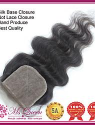 "Top Quality Remy Virgin Human Hair Silk Closures 120% 1B Black 4*4 Inch Free Part Body Wave Silk Base Closure 10""-20"""
