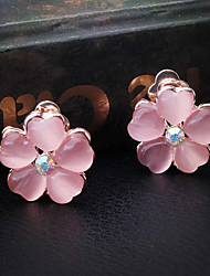 Fashion Pink Alloy Flower Earring for Women, Weddding Accessories with Rhinestones for Ladies