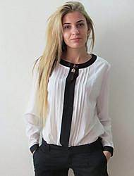 EIFIN Women's European Fashion Chiffon Round Collar Long Sleeve Top
