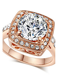T&C Women's Sparkling 18k Rose Gold Plated Austrian Cubic Zirconia Cz Valentine's Day Gift Ring