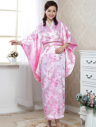 Women's Print/Party Micro-elastic ½ Length Sleeve Kimono Maxi Dress (Satin)