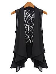 Women's Sexy Casual Lace Cute Thin Sleeveless Regular Jacket (Chiffon/Lace)