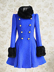 Long Sleeve Double-breasted Blue and Black Fur Woolen Lolita Coat