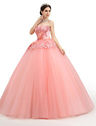 Formal Evening Dress - Watermelon Petite Ball Gown Strapless Floor-length Lace / Organza / Tulle / Charmeuse