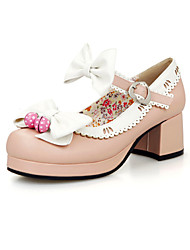 Women's Shoes Leatherette Chunky Heel Heels / Platform / Round Toe Heels Wedding / Dress Black / Blue / Pink / Beige