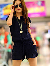 Women's Casual Micro-elastic Thin Short Sleeve Jumpsuits (Polyester)