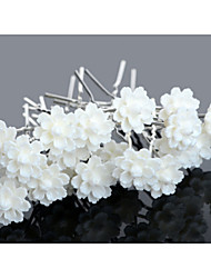 20pcs White Flower U Shape Flower Wedding Headpieces Hairpins