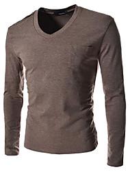 Chemises informelles ( Coton mélangé ) Informel Col V à Manches longues