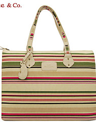 Kate@Co.® Women's  Pvc Figured Cloth OL Style Big Capacity Leisure Stripes  Hanging Drop Canvas Bag(12 Inch)