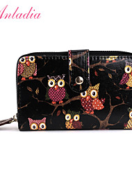 Anladia New Girls Ladies Owl Print Oilcloth Leather Purse Wristlet Wallet Handbag