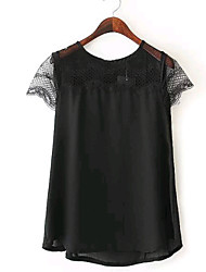 Women's Pure Color Lacework Perspective Sleeveless Chiffon Blouse