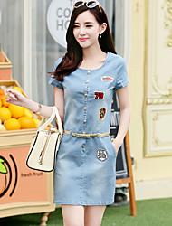 Women's Bodycon/Casual/Party/Work Round Short Sleeve Dresses (Denim)