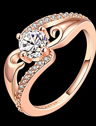Fashion Diamante Flower Women Rose Gold Zircon Statement Rings(Rose Gold)(1Pcs)