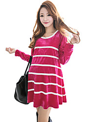 Women's Casual Stretchy Long Sleeve Above Knee Maternity Dress (Nylon/Cotton Blends)
