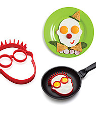 Cartoon Charater's Head Shape Egg Ring for Breakfast, Egg Mold Cooking Tools, Silicone, L14cm×W12.5cm×H1.8cm