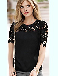 Women's Casual/Lace Round Short Sleeve Tops & Blouses (Lace/Polyester)