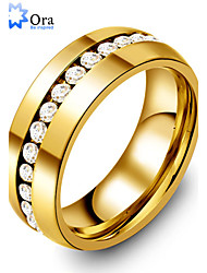 Wedding Rings for Men and Women Dainty Rhinestones 316L Stainless Steel Gold Plated Lady Eternity Ring