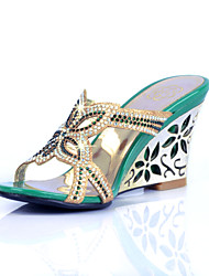 Sandalias ( Azul/Verde/Dorado Zapatos con plataforma/Talón abierto - Tacón Cuña - Brillo chispeante - para MUJERES
