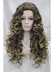 New Fashion Brown mix Golden Blonde Tip Long Curly Wonen's Full wig