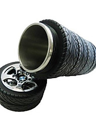 caneca de viagem de chá xícara de café pneu mup criativo roda de carro garrafa térmica de aço inoxidável 17 * 8 * 8 centímetros