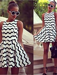 Para Women's Sexy Round Sleeveless Dresses (Polyester)