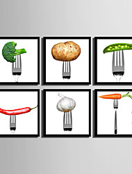 E-HOME® Framed Canvas Art, Vegetables Framed Canvas Print Set of  6
