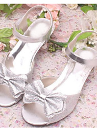 Girls' Shoes Dress / Party & Evening Leatherette Heels Spring / Summer Heels / Peep Toe Low Heel Bowknot / Sequin Black / Pink / Silver