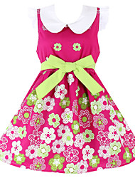 Girl's Purple Flower Cotton Sundress Kids Clothing Party Princess Dresses