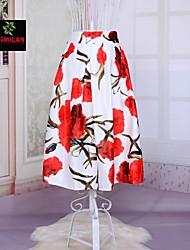 YIMILAN® Women's 2015 New European Fashion Printing Flower Skirt