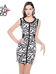 De haoduoyi® vrouwen zebra print mouwloze elastische jurk